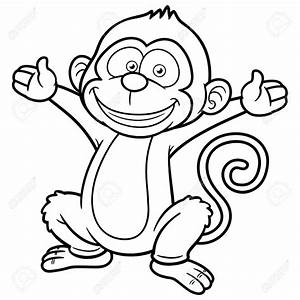 Monkey Outline Clipart - ClipartXtras