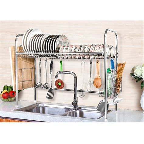 over the sink drying rack 2 tier shelf stainless steel dish bowl drying rack over