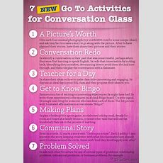 7 New Go To Activities For Conversation Class Poster