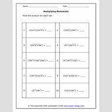 Dividingmonomialsworksheet(pdf)answersheet Images  Frompo 1