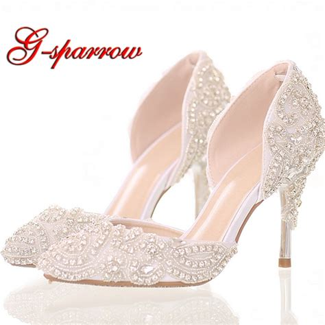 Wedding Shoes by 2018 Beautiful Rhinestone Wedding Shoes High Heel Pointed