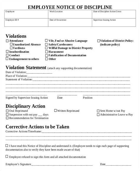 employee discipline form 6 free word pdf documents free premium templates