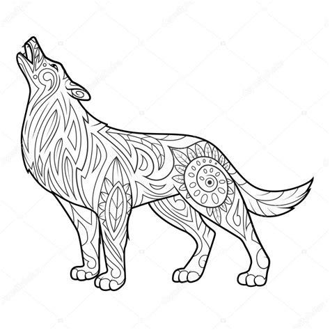 En De Wolf Kleurplaat by Wolf Coloring Boek Voor Volwassenen Vector Stockvector