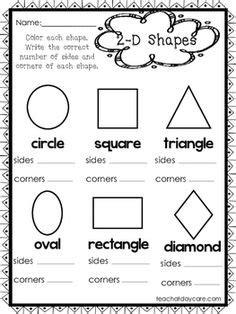 shapes number of sides number of corners worksheet