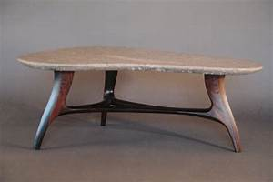 Classic three wooden base legs and triangle shape stones for Stone and wood coffee table