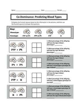 Punnett Square Practice Codominance And Incomplete Dominance By Haney Science