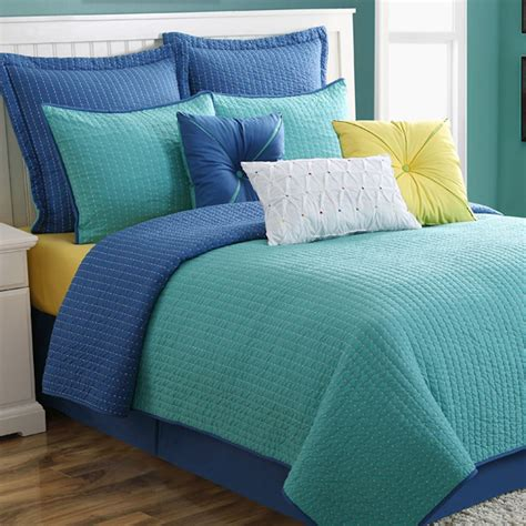 Coverlet Set by Dash Turquoise Blue Reversible Coverlet Set By