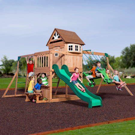 Walmart Backyard Playsets by Backyard Discovery Montpelier Cedar Wooden Swing Set