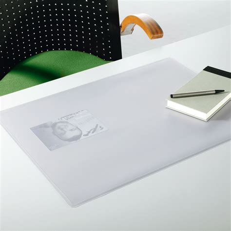 porte carte de visite de bureau durable sous transparent duraglass 65 x 50 cm sous