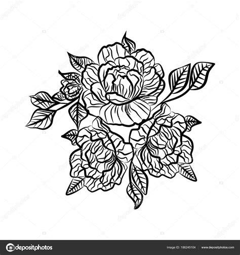 Desenho preto e branco de uma tatuagem de rosa Silhueta