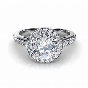 round halo pave diamond engagement ring With round wedding ring