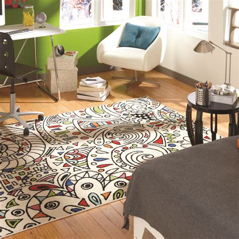 contemporary room with painted window indoor area rug