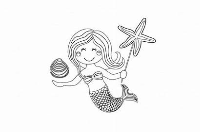 Mermaid Coloring Cartoon Sea Shell Starfish Hand