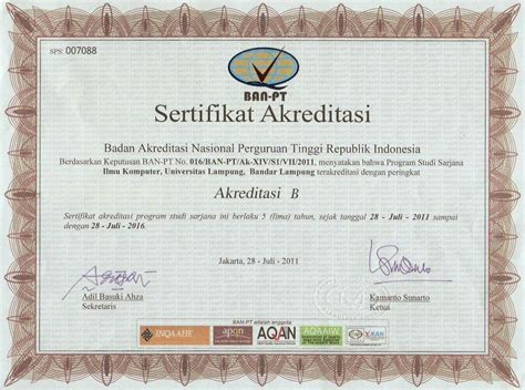 Surat Keterangan Akreditas by Akreditasi Jurusan Ilmu Komputer Unila Jurusan Ilmu