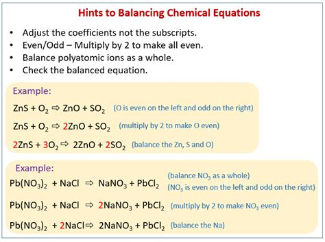 How To Balance Chemical Equations (solutions, Examples