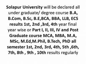 Solapur university ba, b sc bcom, mba, mca, m.phil ph.d ma ...