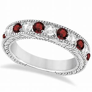 antique diamond garnet bridal wedding ring set 14k white With garnet wedding ring set