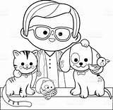 Coloring Veterinarian Pets Vet Drawing Plumber Animal Dog Adult Puppy Veterinary Vector Cat Hospital Cartoon Animals Illustration Printable Preschool Drawings sketch template
