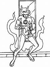 Torch Human Coloring Superheroes Printable Fantastic Kb Drawing sketch template