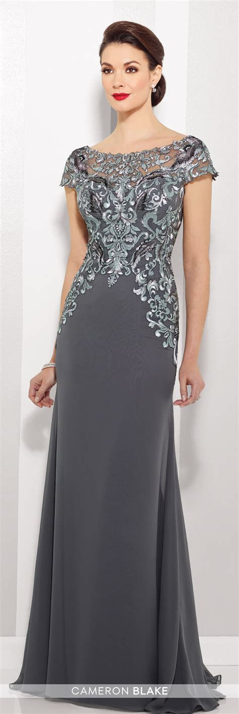 chiffon   gown  illusion cap sleeves cameron