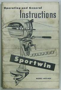 Original Evinrude Sportwin Outboard Owners Manual 3 3 Hp