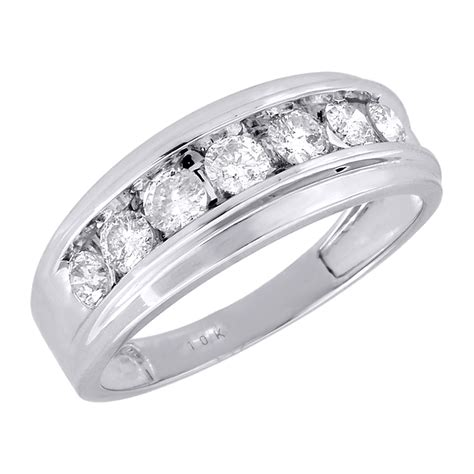 mens white gold  stone diamond engagement ring