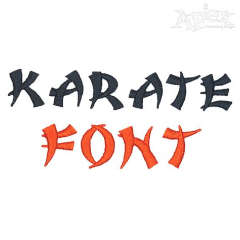 karate embroidery font