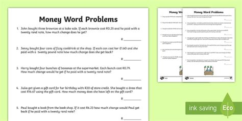 money word problems south africa activity south africa money currency