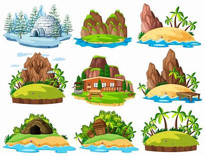Things Islands Vector Different Cave Buildings Clip