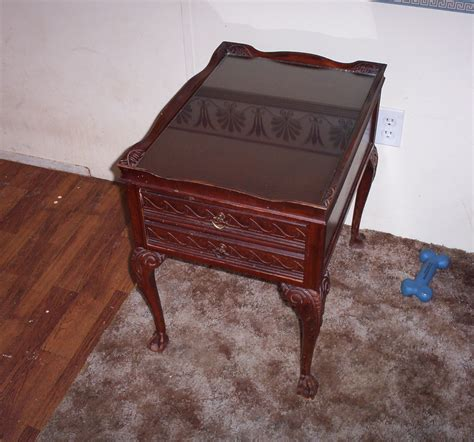 antique glass table ls antique end table glass top inlay for sale antiques com