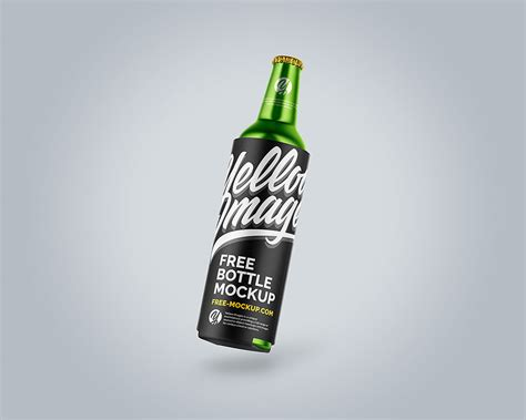 The item is presented in a front view. Free Metallic Drink Bottle Mockup | Mockuptree