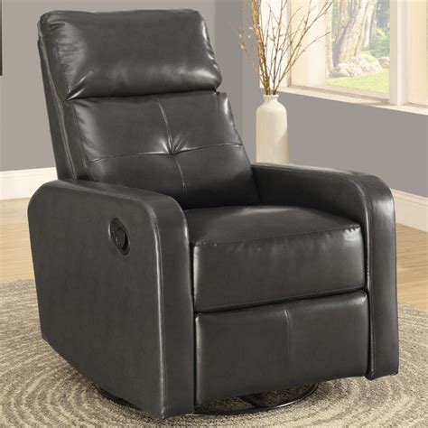 charcoal grey bonded leather swivel glider recliner