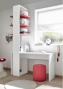 Etagere De Bureau : bureau tag re design coloris blanc et rouge ~ Teatrodelosmanantiales.com Idées de Décoration