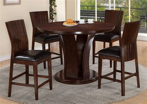 espresso counter height dining table compass furniture daria espresso counter height round