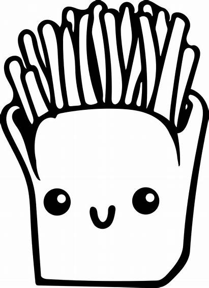 Kawaii Fries French Coloring Pages Drawing Clipart