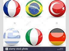 3D spheres with country flags of France, Brazil, Turkey