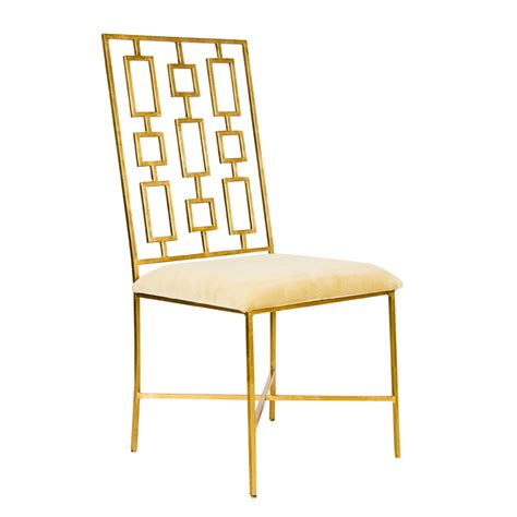 worlds away gold leaf dining chair with beige velvet seat