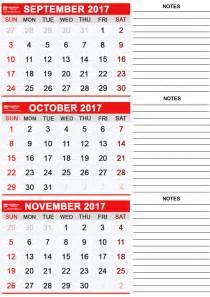 August September October Calendar 2017