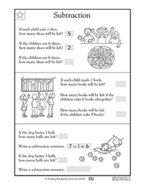 st grade math worksheets subtraction word problems