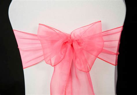 wedding chair cover coral pink organza