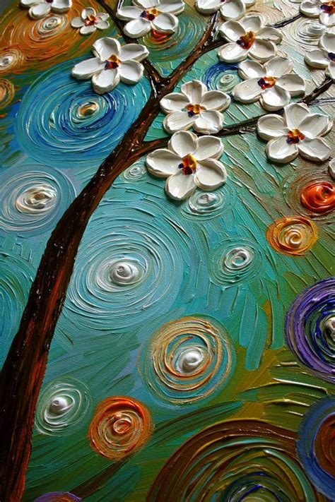 Original Abstract Modern Texture Painting Spring Blooms