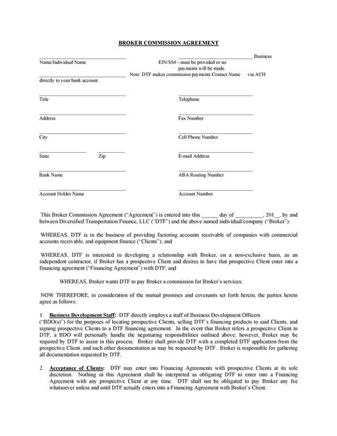 commission agreements sales real estate contractor