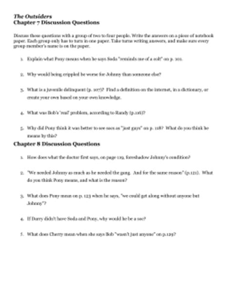 The Outsiders Notes Chapter 7 by The Outsiders Study Guide