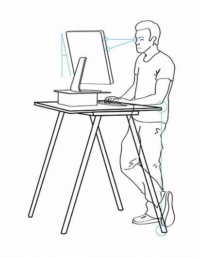 Desk Standing Stand Ergonomics Working Illustration Svg
