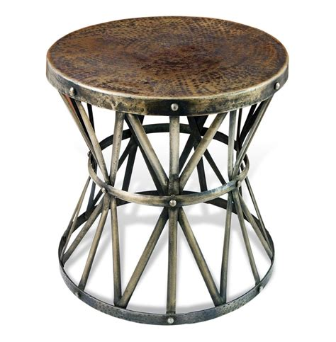 antique brass side table zemico dark antique brass hammered rustic iron side table