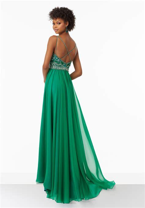 flowy dresses flowy chiffon prom dress with beaded bodice style 99129