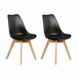 Chaises Scandinaves Noires : lot de 2 chaises design scandinaves pas cher pieds en bois noir ~ Teatrodelosmanantiales.com Idées de Décoration