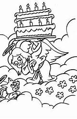 Coloring Pages Angel Birthday Cat Cool Holding Cake Talking sketch template