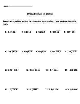 dividing decimals by decimals worksheet by kris milliken tpt