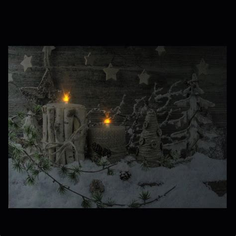 led lighted country rustic winter canvas wall